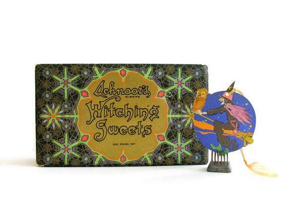 Vintage Halloween Candy Box Witching Sweets Schnoor's Wichita Kansas Art Deco Black Gold Spiderwebs