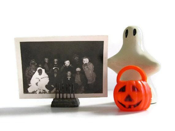 Vintage Halloween Party Photo Masks Costumes Adults Basement Creepy Photograph