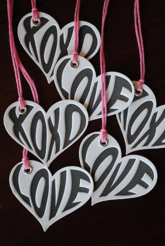 Letterpress Hugs & Love Tags