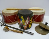 Vintage toy Drums, Cymbals, triangles Music makers Indian