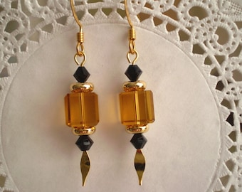 Gold Crystal Cube Earrings Black Crystal Accents Dangle Gold Spear Pins Ear Wires