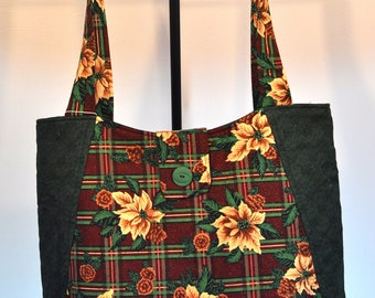 Poinsettia and Plaid Print Quilted Hobo style handbag