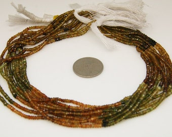 1strand - petrol tourmaline faceted rondel sized 3mm
