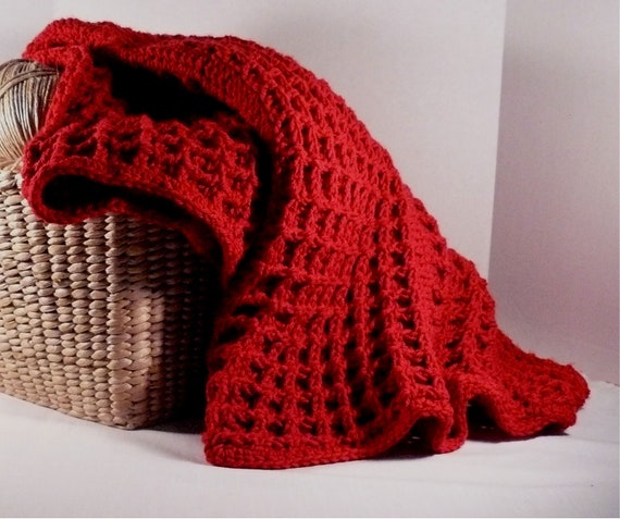 Baby Afghan Blanket, crochet // Unisex Soft and Cozy Red crochet baby and toddler blanket