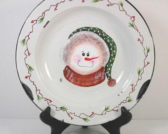 Snowman Hand Painted Enamel Plate