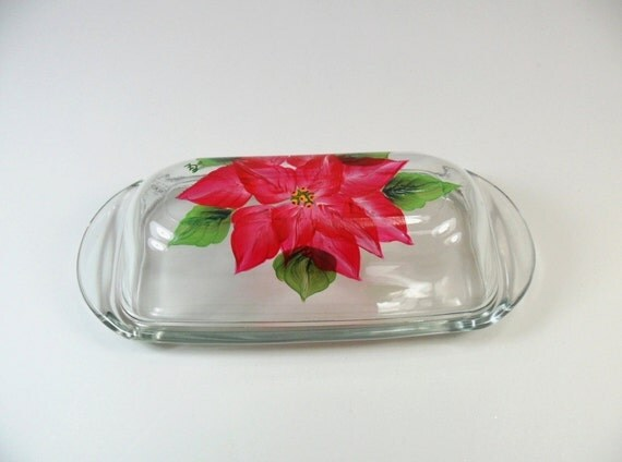 Butter Dish Red Poinsettia Hand Painted