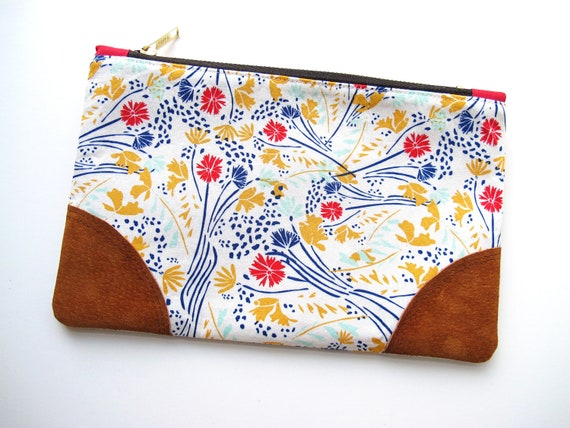 Maria Leather Accent Zipper Pouch
