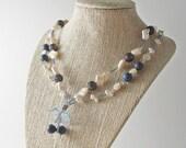 Beachcomber Necklace ~ Freshwater Pearl, Coral, Swarvoski Crystal, Flower, Statement Necklace, Beach, Beach Wedding, Gift for Her
