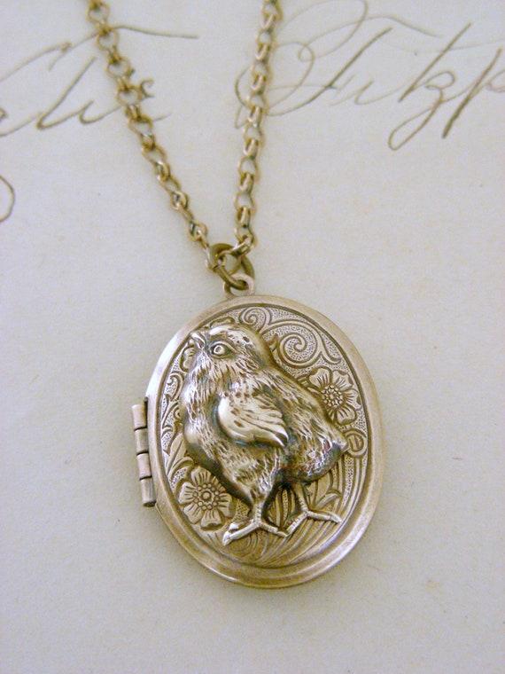 Cyber Monday Sale Free Shipping - Locket Necklace Baby Chic - Run Chic Run - Vintage Brass Chicken LOCKET - Under 35