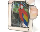 Peach Apricot and Ivory Hand Crafted Stained Glass Table Top Picture Frame