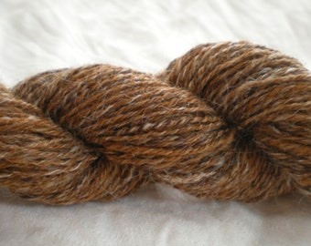 Handspun Fingering Weight Wool Yarn FUDGE RIPPLE sock yarn Natural Brown and White 140 yards