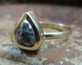 Diamond Ring - Rose Cut Black Diamond Ring - Engagement Ring - Gold Ring - Solitaire Ring -  Alternative Engagement Ring - ooak