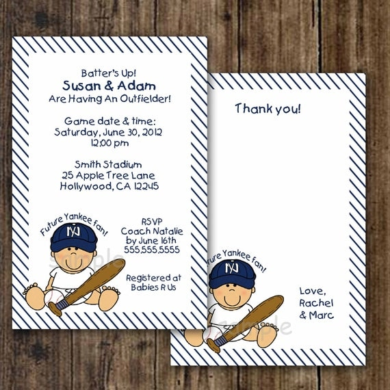 New York Yankee Baseball Invitation and Thank you note combo