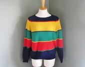15 Dollar Sale - Vintage 80s RAINBOW Stripe Sweater - Women L - Preppy