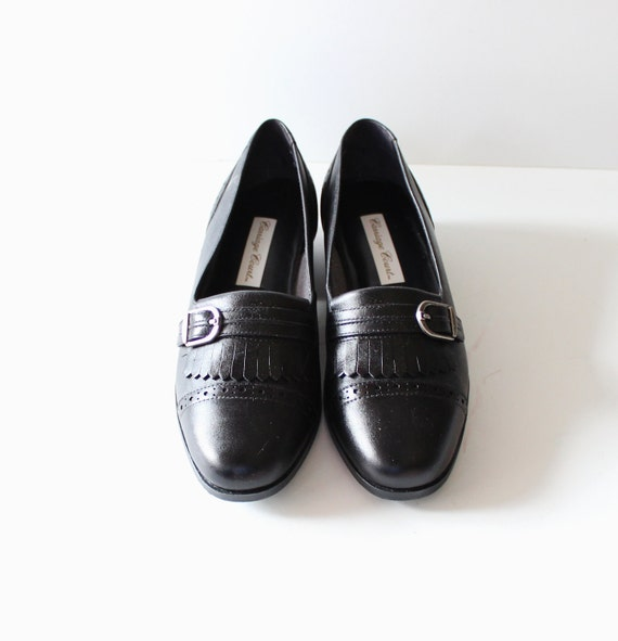 Vintage 80s Black FRINGE Loafers - Carriage Court Leather - Women 6.5M NOS Dead Stock