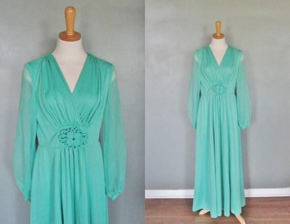 10 DOLLAR Sale Vintage 70s Mint Green Dress - Women S M - Full Length - Hippie Bridesmaid