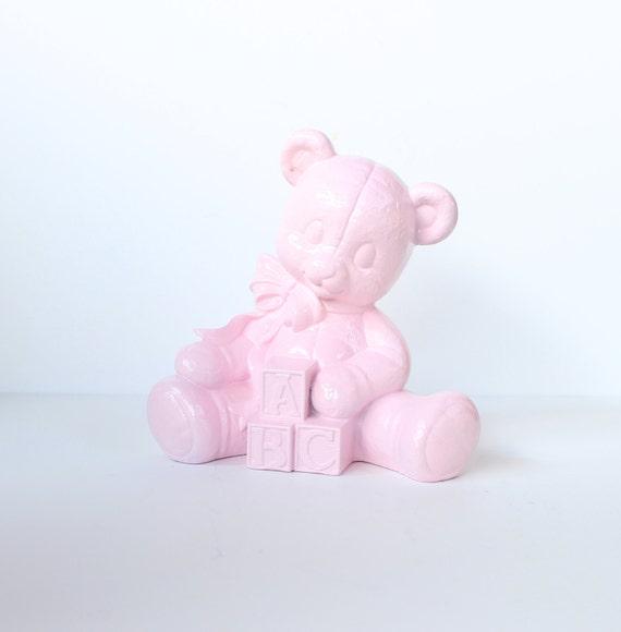 Upcycled TEDDY BEAR with Blocks - Baby Girl Pink - Vintage Ceramic Figurine for Nursery