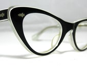 Vintage Cat Eye Glasses. Cute Black and White CatEye Frames.