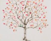 Fingerprint Tree Wedding Guest Book Alternative, Original Hand-drawn Medium Jacaranda Design (ink pads sold separately)