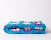 Vintage Crochet Pram Blanket Afghan Blue