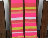 Baby Leggings and Toddler Leggings - Halloween Leggings - Neon Pink, Safety Cone Orange and White Stripes