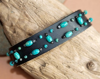 Turquoise Beaded Black Leather Cuff
