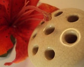 Vintage Ceramic Pottery Flower Frog Flower Arrangement Cottage Chic Holy Vase Rustic Primative