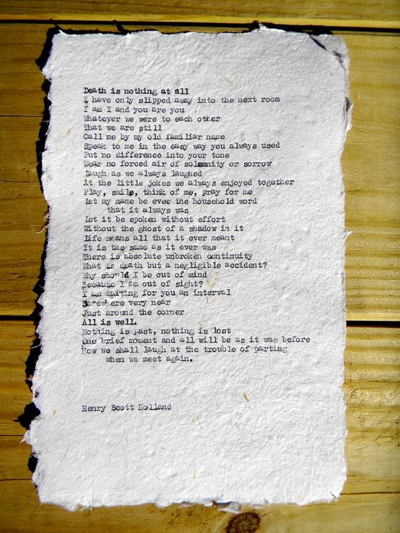 "Items similar to Henry Scott Holland Typewritten ""Death is ..."