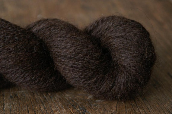 DARK COCOA - Handspun Natural Alpaca Yarn - 218 yds