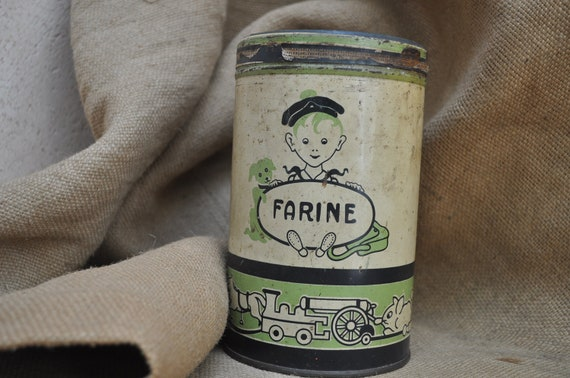 Reserved for Lisa - 1930s French Tin or Canister