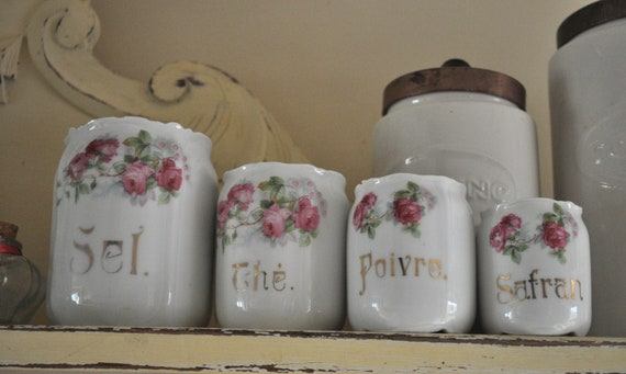 Set of 4 Ceramic French Canisters