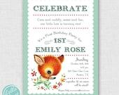 vintage baby animal first birthday printable invitation for girl