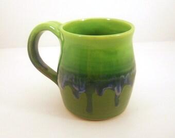 Coffee Mug, Cup, Tea - Hand Thrown Pottery Moss - Made to Order