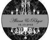 Black & White Chandelier  Personalized Wedding Favor -4 oz Soy Wax Candle Jar