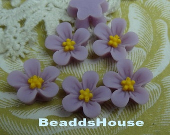 650-00-CA  8pcs Beautiful Resin Flower Cabochon - Orchid withYellow