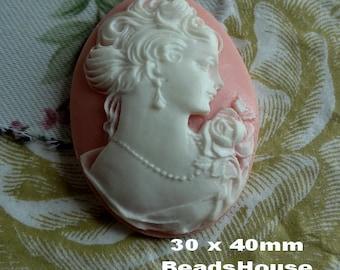 57-00-CM 2pcs  Portrait Oval Cameo Pendant  (30 x 40 mm) - White on Pink