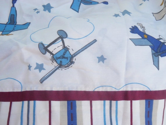 Reclaimed fabric vintage airplane print boys by for Airplane print cotton fabric