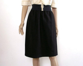 Vintage 1980s Skirt Black Wool Dirndl Skirt / SM