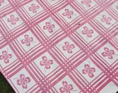 RESERVED for JOYCE - Vintage Rectangle Tablecloth...Pink 4-Leaf Clovers and Windowpane