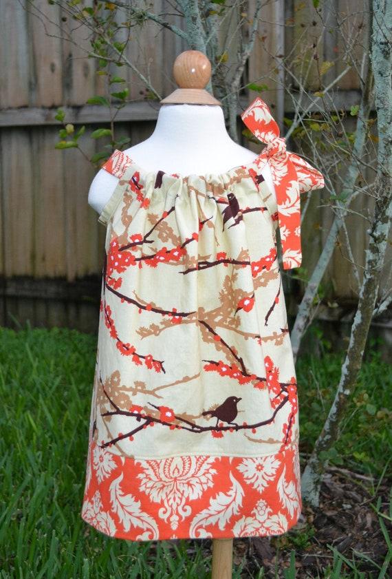Aviary 2 Sparrows Orange and Cream Pillowcase Dress - Summer Dress - Fall Dress Autumn Dress Thanksgiving Outfit - Baby Dress Toddler Dress
