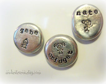 Hand Stamped Personalized Magnet Pewter Pebble QTY: THREE