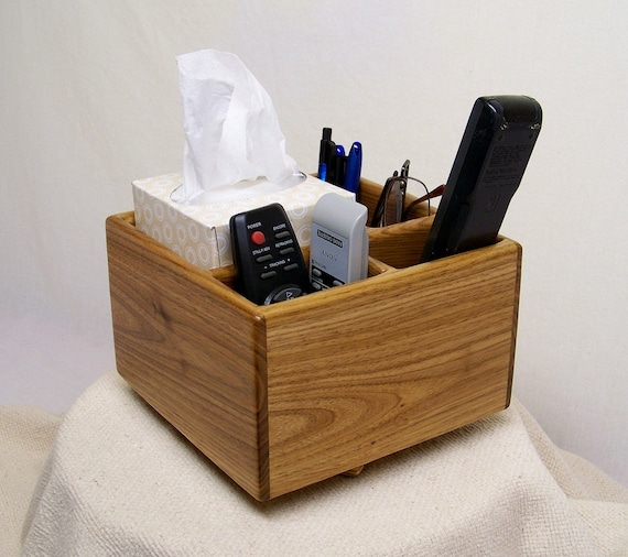 Mini Coffee Table Caddy TV Remote Holder Home Organizer Butternut