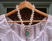 Turquoise Blue Freshwater Pearl Elegant Romantic Bridal Wedding Sterling Silver Aqua Blue Necklace
