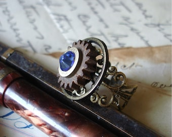 Steampunk Ring Vintage Wood and Brass Gear  Adjustable Size    C 2-1 /129