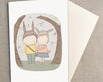 "Greeting Card - Harriet and Henry Best of Friends -  C6 greeting card 11w x 15.5 h cm (4.4x6.1"")."