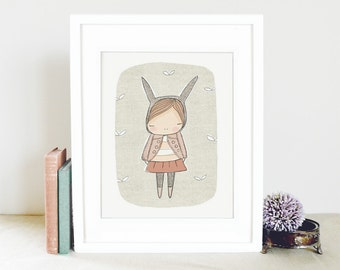 Girls Room Nursery Art - Digital Art - Rabbit Wall Art - Bunny Rabbit with Pale Cinnamon Pink  - Art Print 8x10 Children's Room