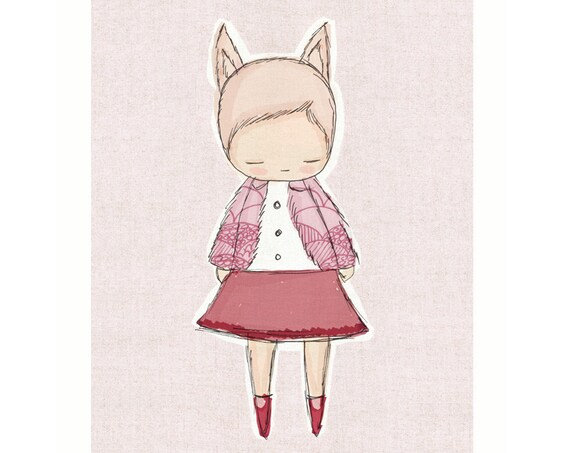 Baby girl nursery, Nursery Girl Decor - Little Fox Girl Art- Pink and Maroon