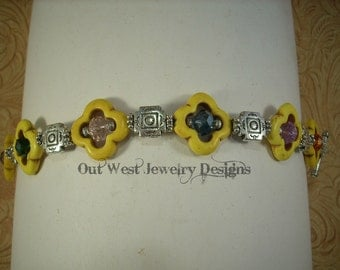 Cowgirl Bracelet - Yellow Howlite Turquoise with Multicolored Crystals