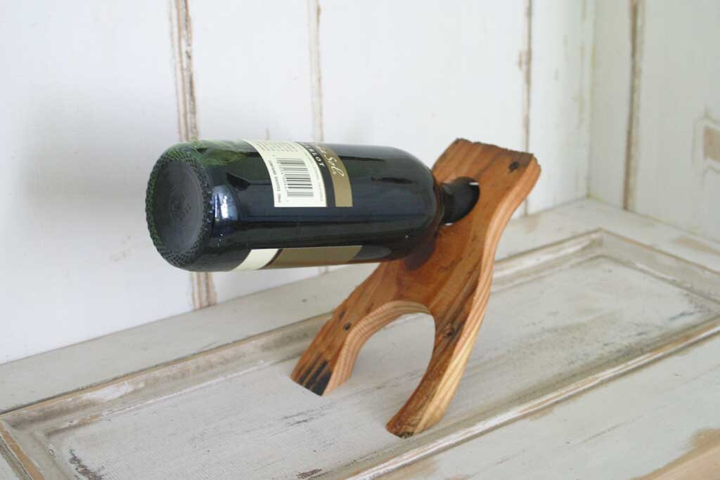 Balancing wine bottle holder made of reclaimed pine by timsway - Wine bottle balancer plans ...