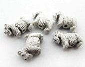 10 Tiny Scotty Dog Beads - white - CB151